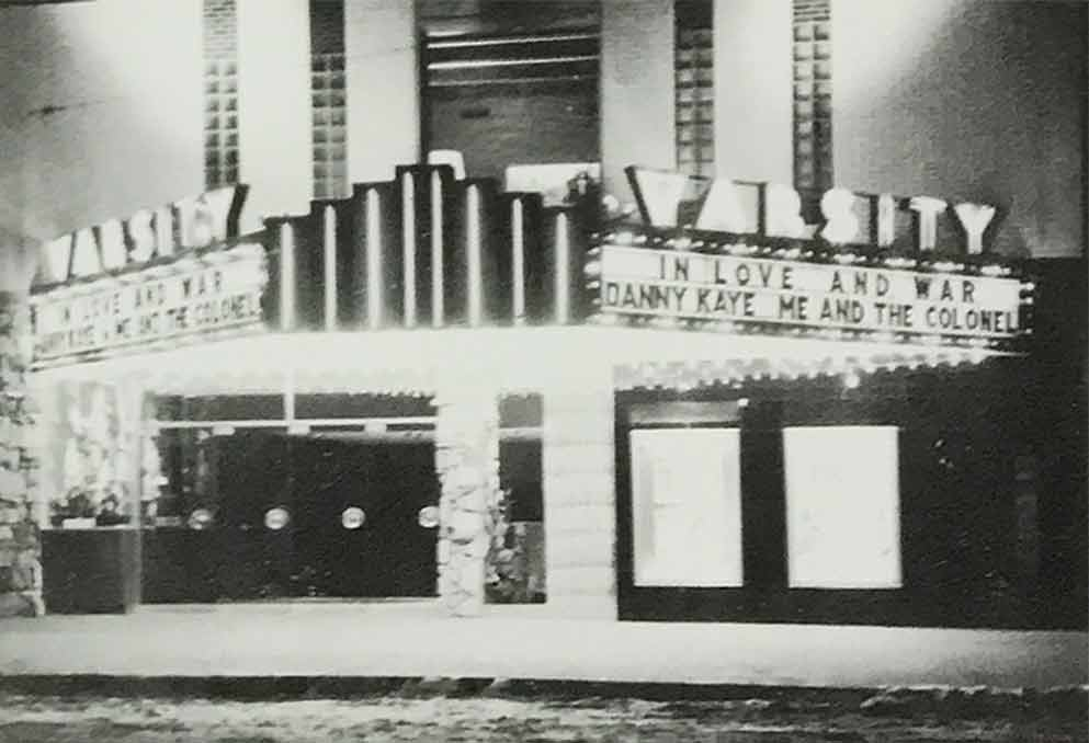 A historical photograph of the marquee at the Varsity Theatre in Des Moines, Iowa